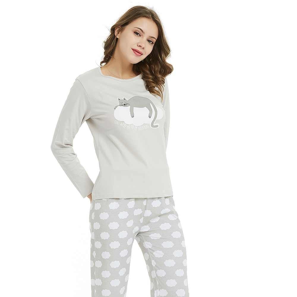 Pijama largo largo dream cat perla for Sognare asciugamani