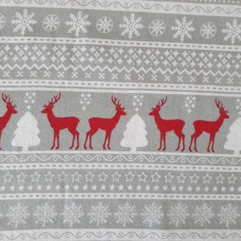 Set di Lenzuola flanella Singolo Ciervo rosso/grigio/bianco singolo