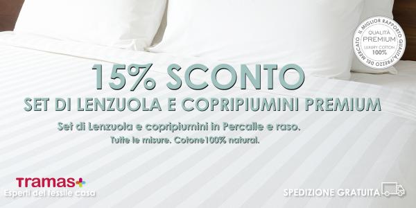 sconto del 15% sui set di lenzuola di alta qualità e copripiumini di tutte le misure